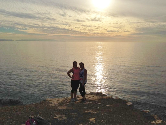 Enjoying the sunset at the end of our awesome hike!