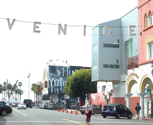 "The famous ""Venice"" sign hanging over the boulevard."