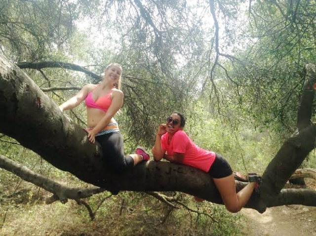 Climbing some crazy trees halfway through our hike!