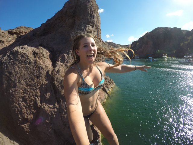 Jumping off rocks at Copper Canyon.
